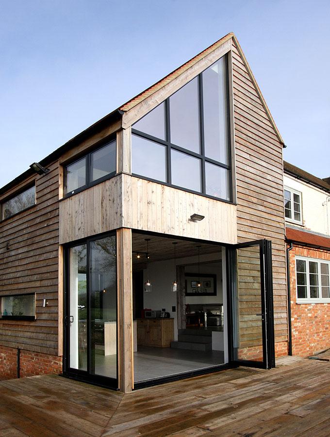 bifold doors in contemporary home exterior