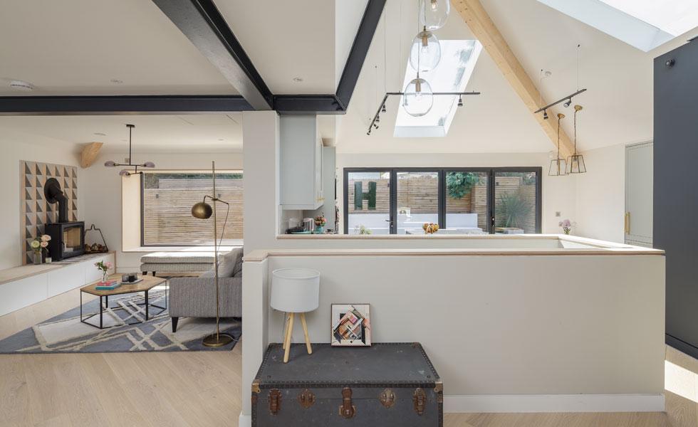 broken plan living area in contemporary family home