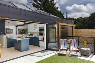 bi fold doors opening kitchen to the garden
