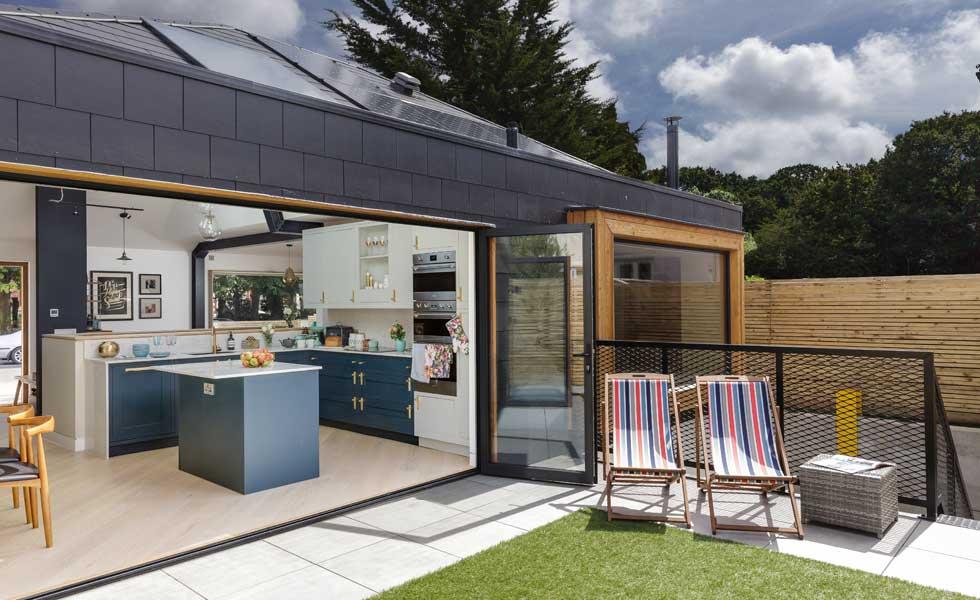 bi fold doors opening kitchen to the garden