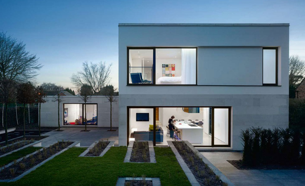 Contemporary home with crisp white render