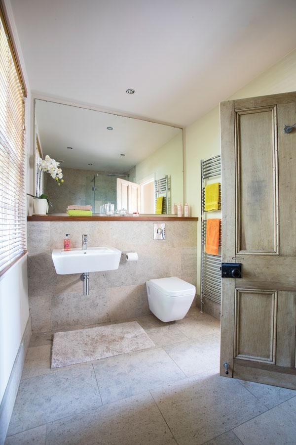 master bathroom in extended barn