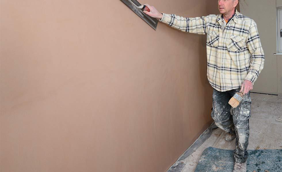 Plastering work in progress
