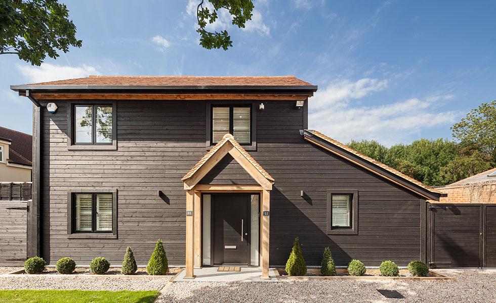 timber door in modern house