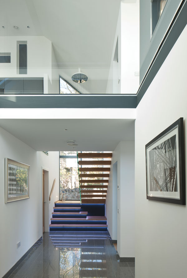 double-height contemporary staircase