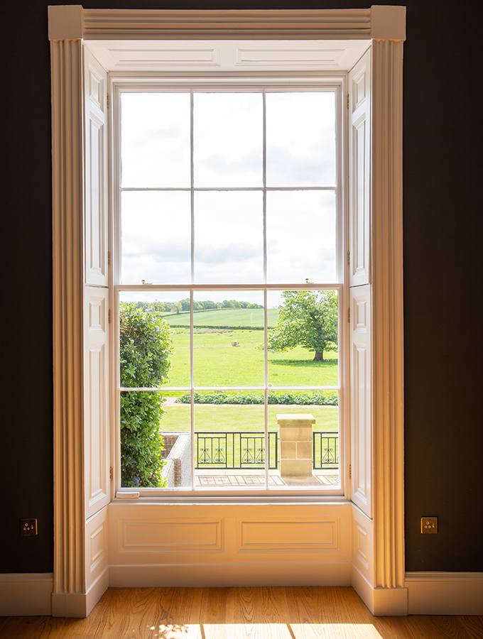 interior of repaired sash window in house