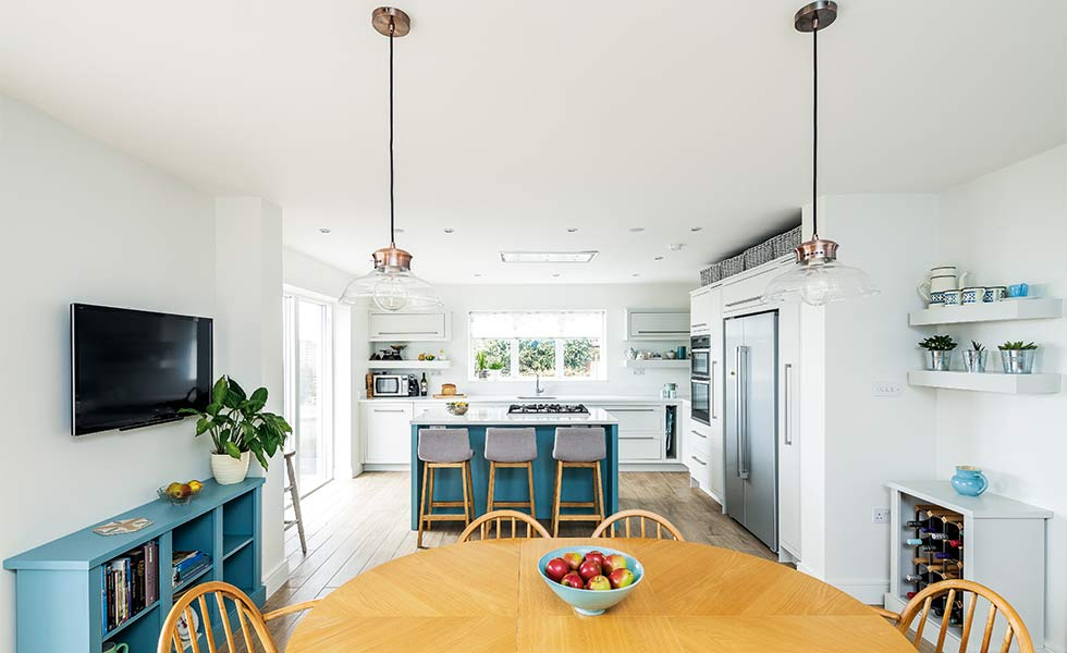 Open plan family kitchen dining space