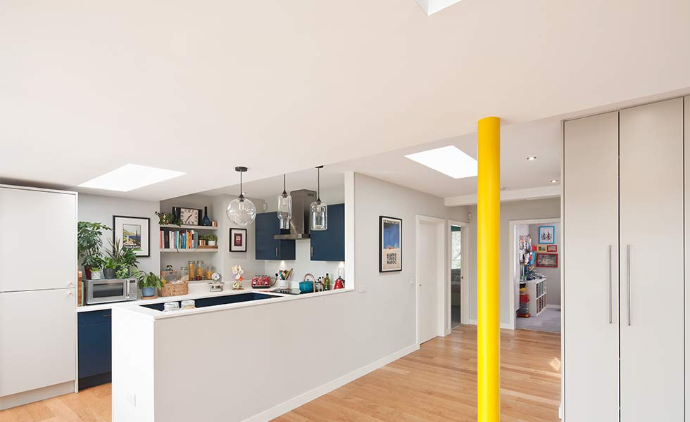 Open plan layout with supporting post