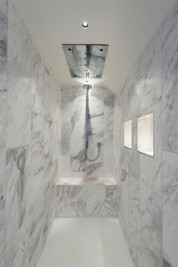 contemporary marble shower with rainfall shower head