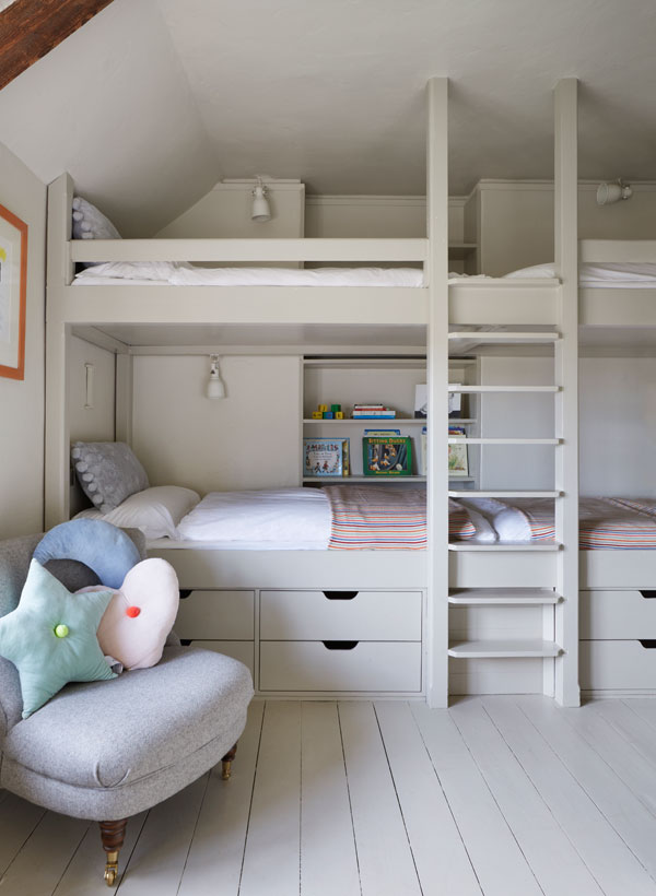 built-in furniture works really well in awkward spaces such as those with uneven walls and sloping ceilings