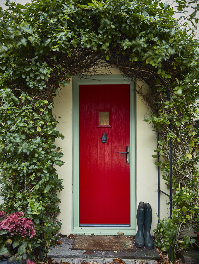 red front door of traditional house
