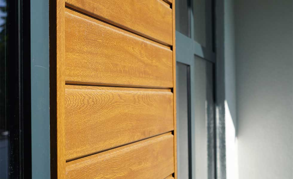 Woodgrain effect PVCu cladding