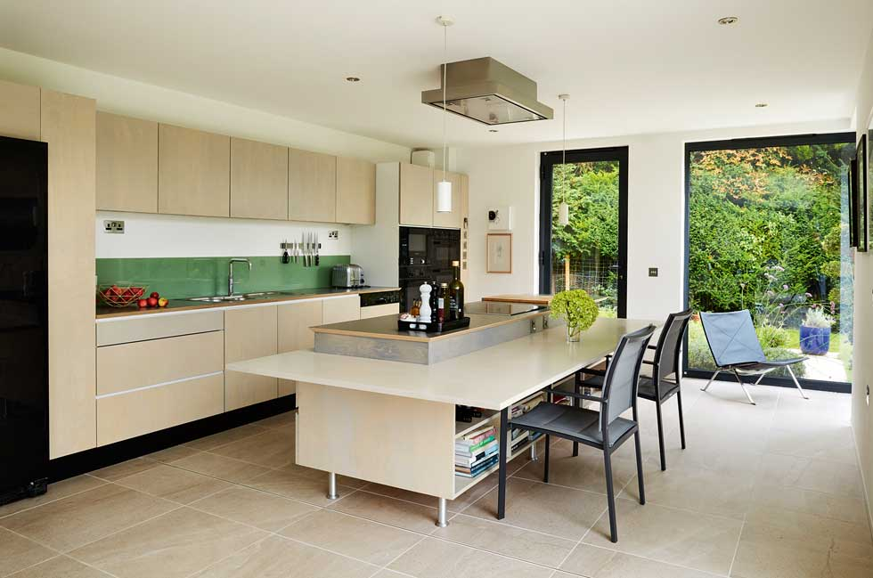 The modern kitchen features a kitchen island