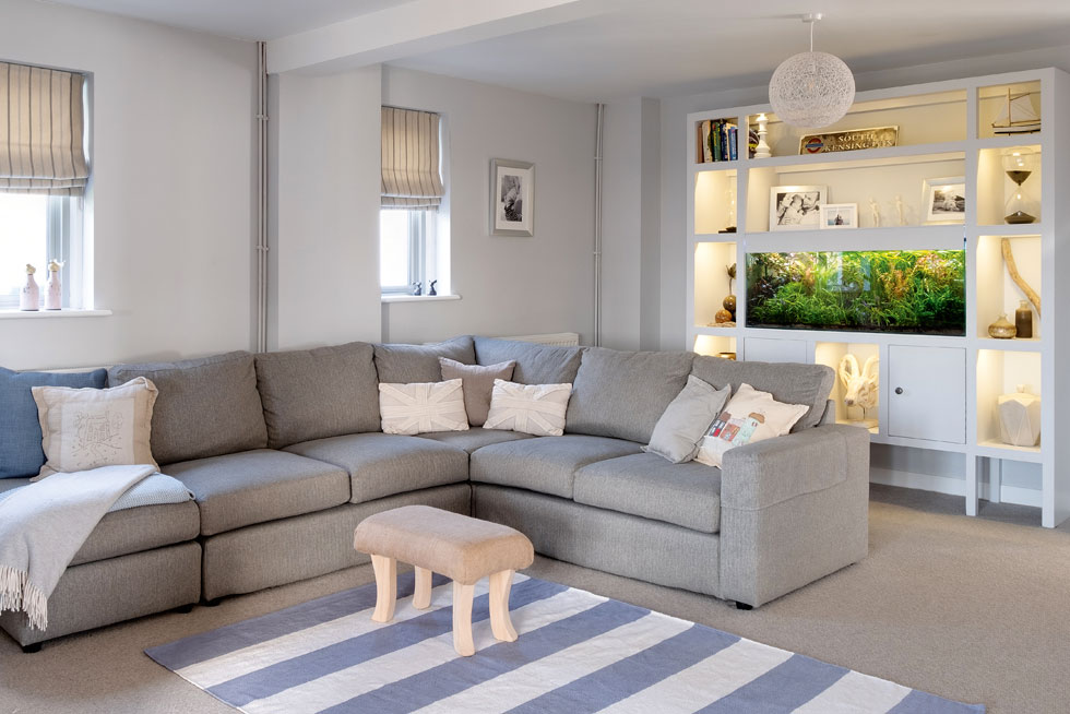 neutral living room with built in storage