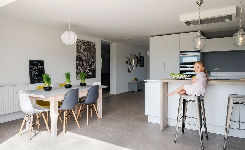 contemporary grey and white kitchen diner