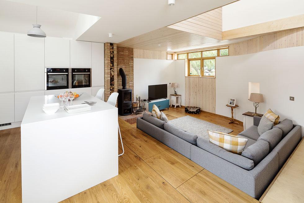 kitchen living area with sunken living room