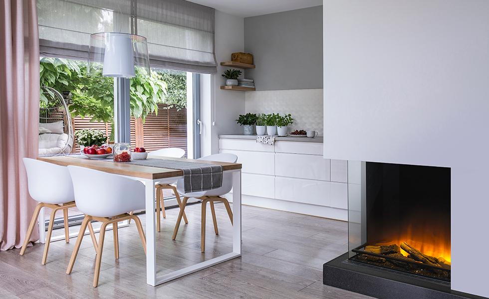 contemporary fireplace in open plan kitchen