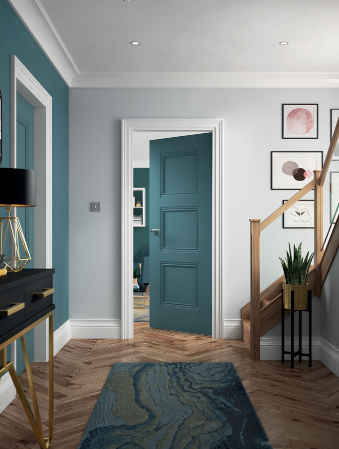 contemporary blue internal door