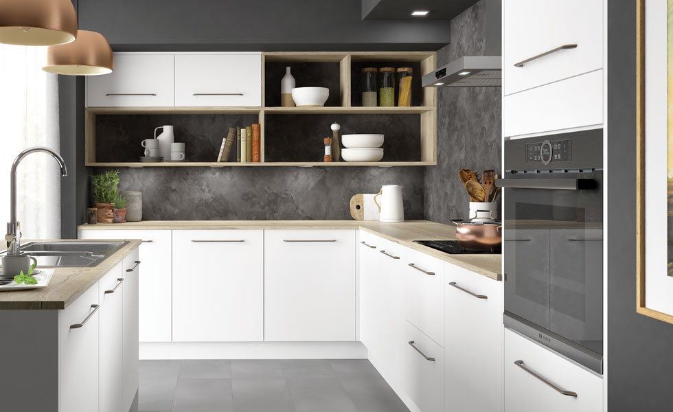 open shelves provide a great space for storage in your kitchen