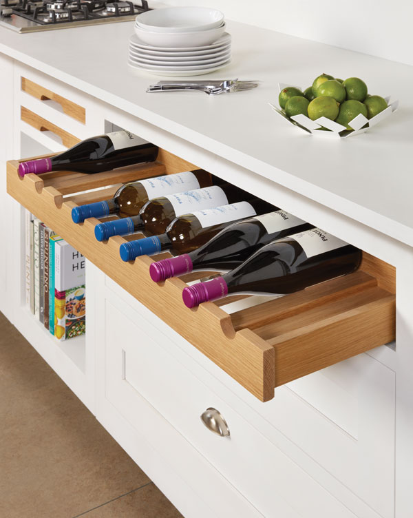 Instead of a wine rack, why not opt for a wine drawer?