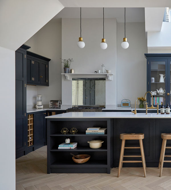 Consider a built-in bookcase as part of your kitchen to provide a space to store cookbooks