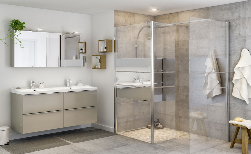 Bathroom with walk-in shower enclosure