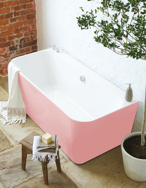 Back to wall pink bath