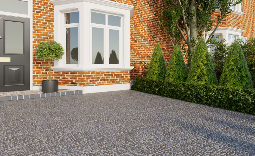 Paved driveway terraced house