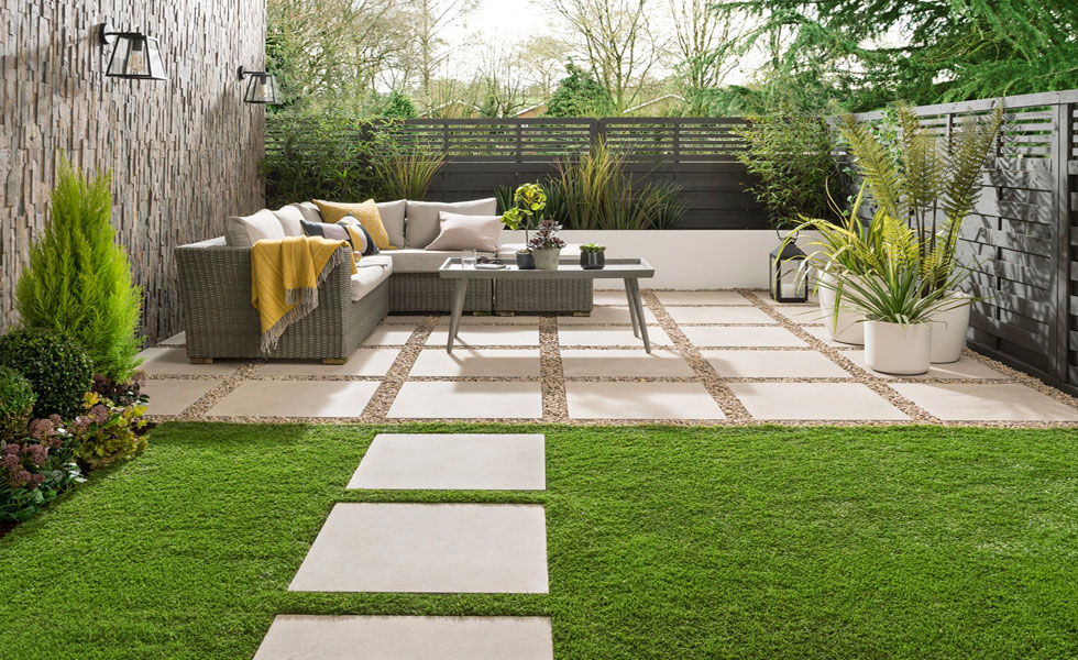 Landscaped garden with paving