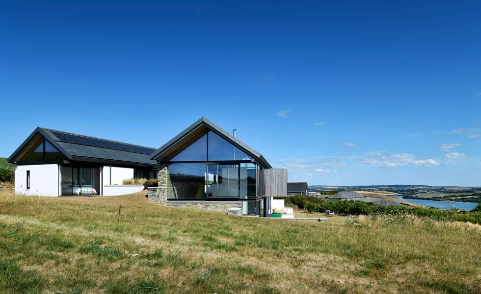 Contemporary house with sea views and glazed gables