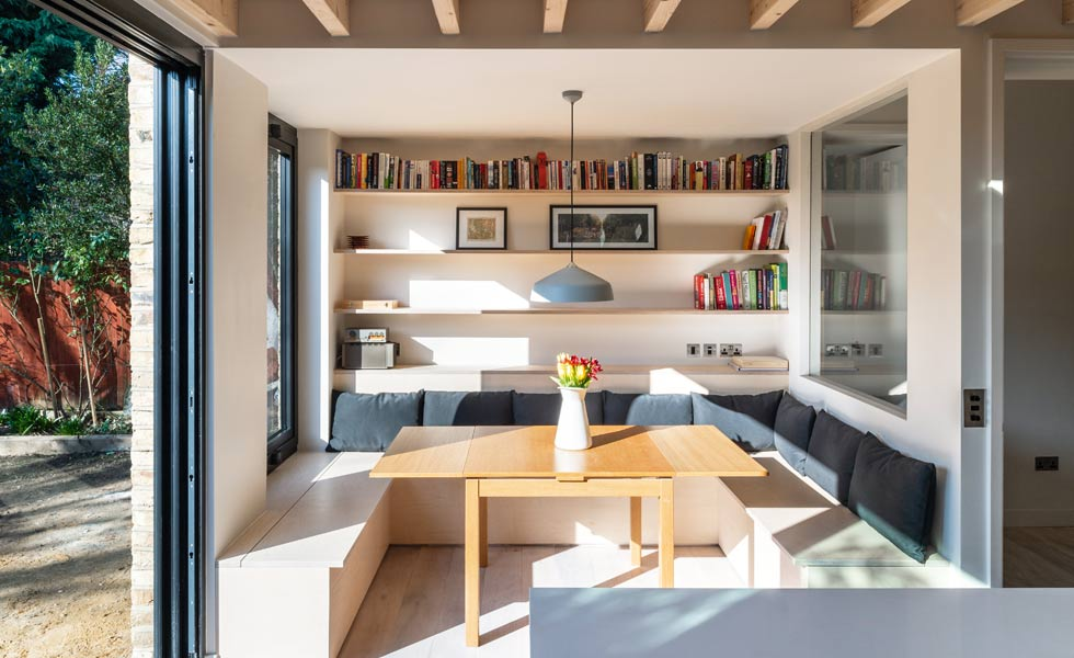 Built in joinery to house books add personality to a space making it feel cosier