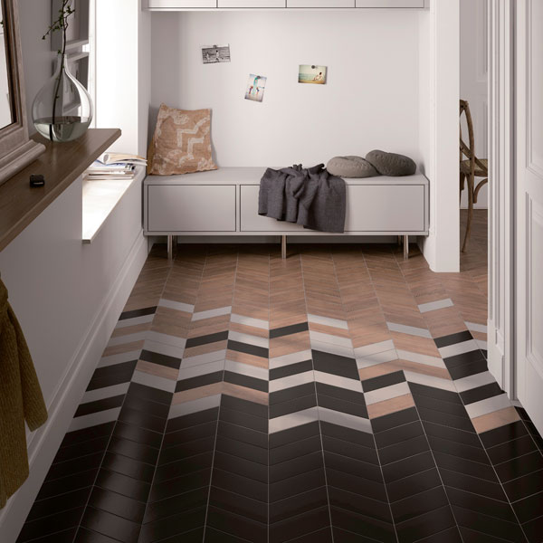 Tiled flooring in a chevron pattern helps to add splashes of colour and texture into your interiors