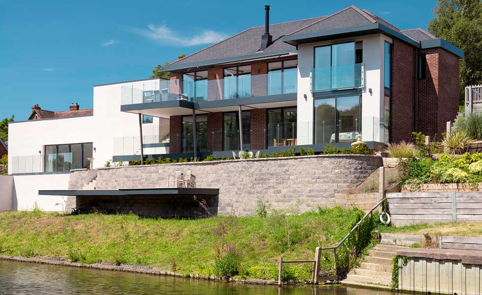 contemporary self build home on a riverside plot