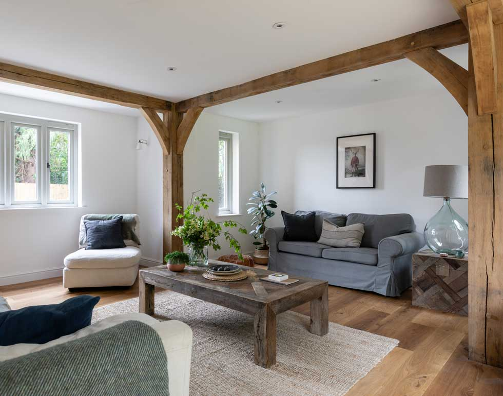 Sitting room with exposed oak beams