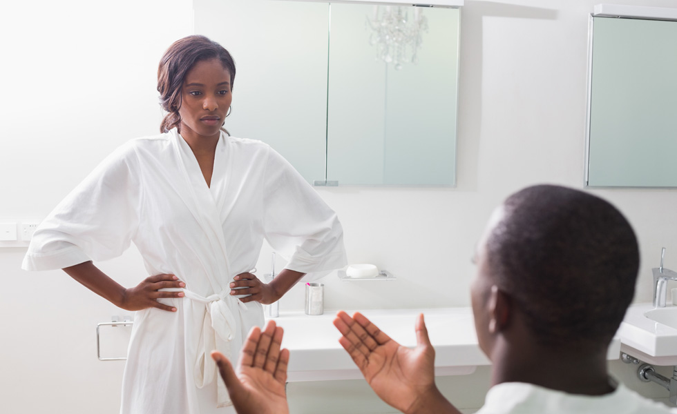 couple arguing over bathroom habits