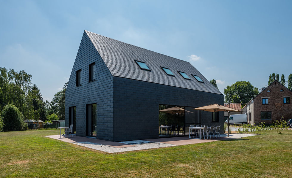 Contemporary slate clad house