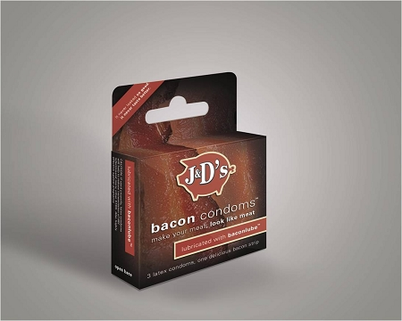 The Bacon Condom box