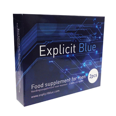 Explicit Blue food supplement for men pack shot
