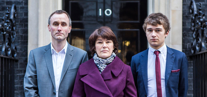 Rachel Barnes, Nevile Hunt and Thomas Barnes delivered their petition to the Prime Minister's office at No. 10 Downing Street