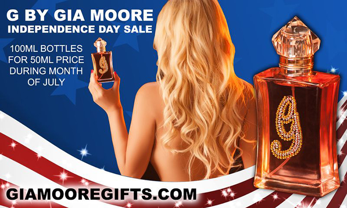 Gia Moore is celebrating the Fourth of July all month long with a special sale on G for Gia perfumes
