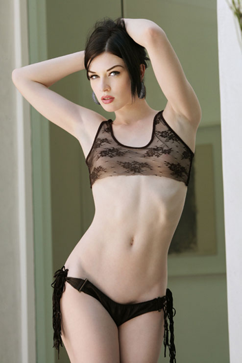 Porn star Stoya in black lingerie
