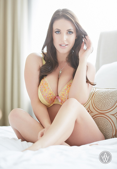 Angela White Yellow Lingerie