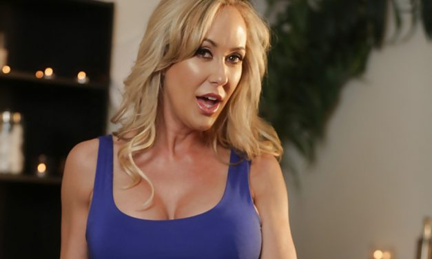 porn star Brandi Love in blue dress