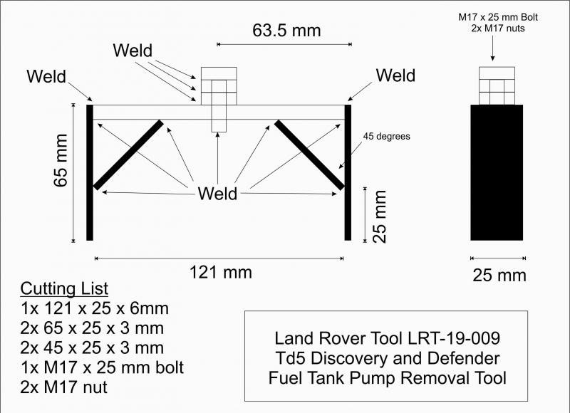 DIY Land Rover Tool LRT-19-009 TD5 Fuel Pump Removal Tool