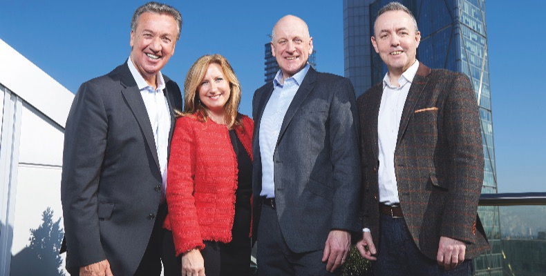(L to R) Bill Toner, CEO, CH&CO; Lorna McFarlane, founder, Inspire Catering; David Pease, founder, Inspire Catering and Nick Thomas, CFO, CH&CO