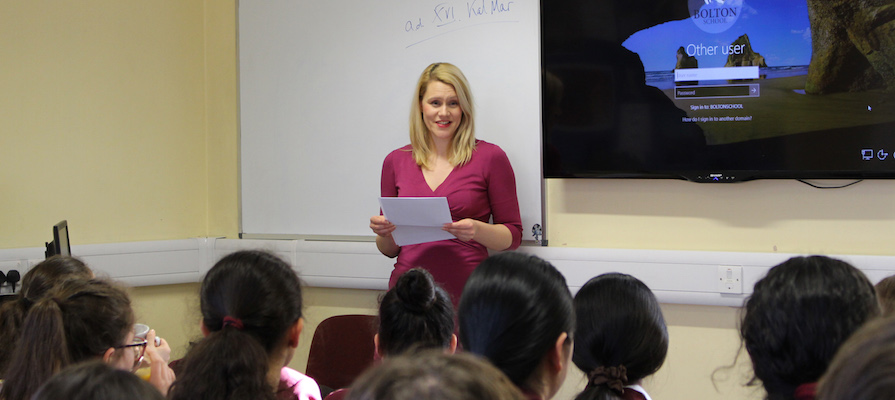 Deputy head Helen Brandon talked to pupils at Brandon School about the stereotypes Love Island perpetuates