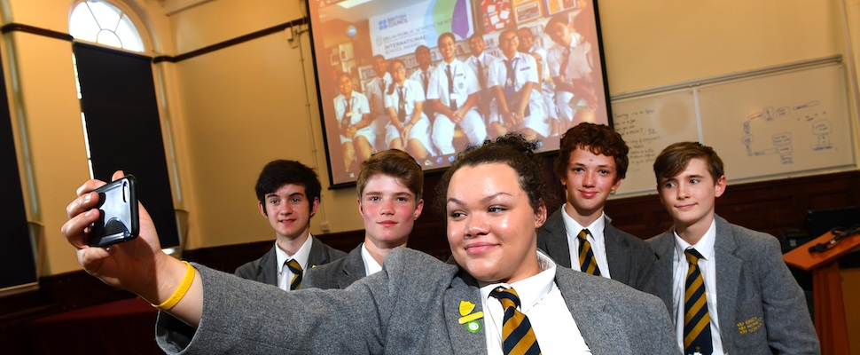 Clara Stewart and Kings Monkton pupils pose for a selfie with Delhi Public School peers