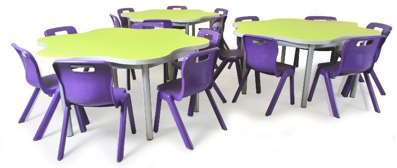 A favourite with pre-school and primary school pupils is the Daisy table, shown here with smart plastic polymer stacking chairs