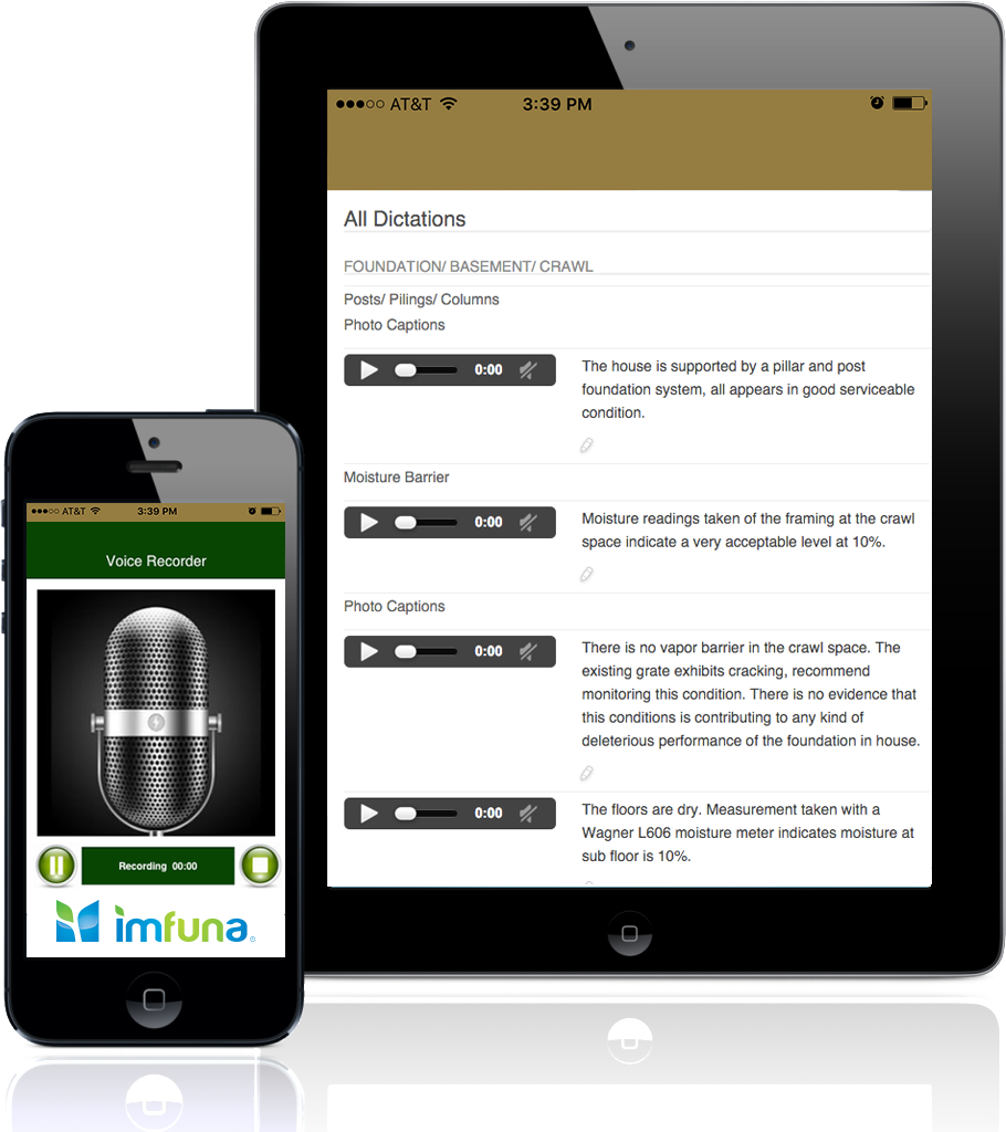 Imfuna transcription for voice notes