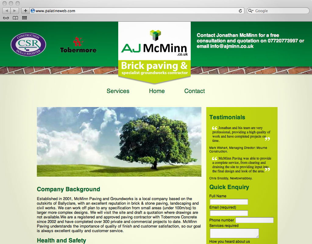 AJ McMinn Website screenshot